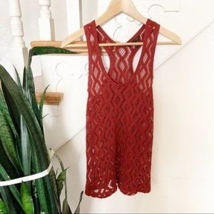 banana republic rusty red crochet blouse sz XS
